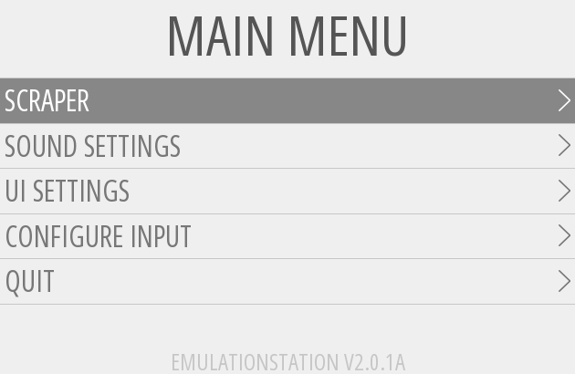 EmulationStation Main Menu