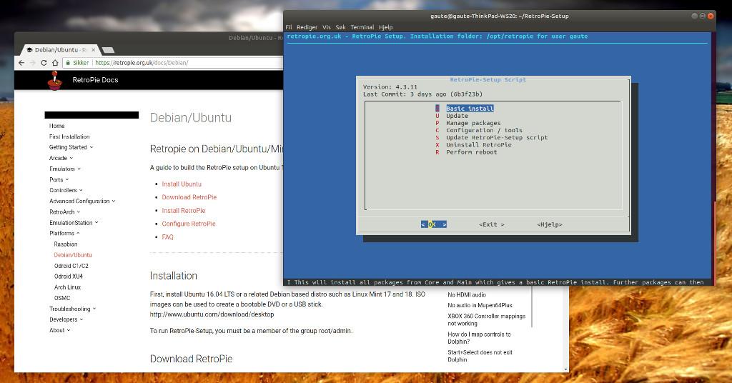 RetroPie installasjon på Ubuntu