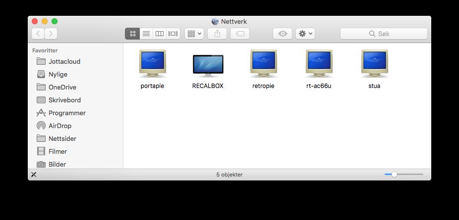 Overføre spill til Recalbox med Mac OS.