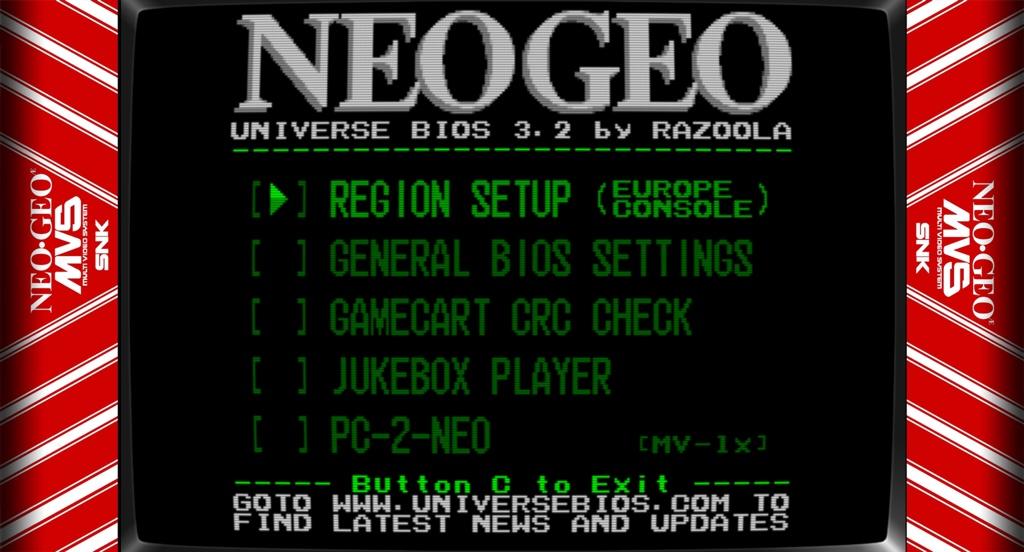 Neo Geo UNIBIOS menu