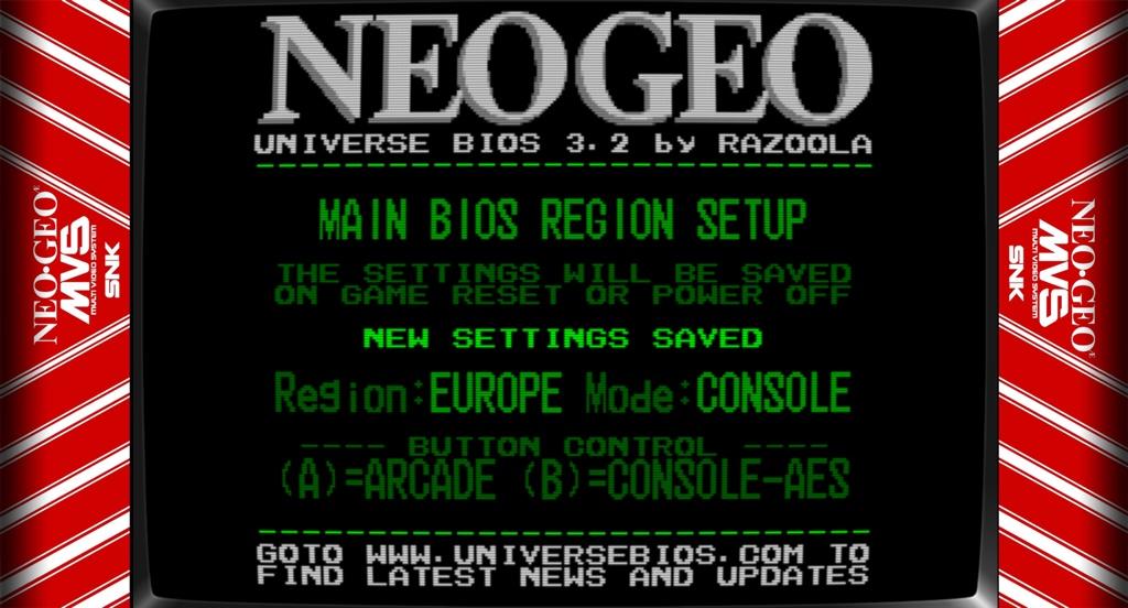 Neo Geo UNIBIOS region setup