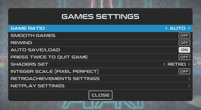 Recalbox Game Settings