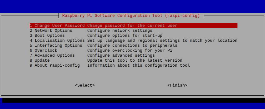 Raspi-config første valg er å endre passord.