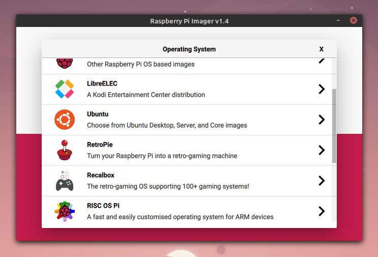 Raspberry Pi Imager, velg distro.